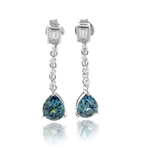 Alexandrite Color Change Dangling Silver Earrings
