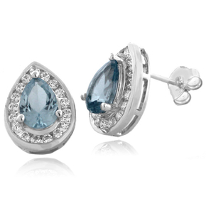 Aquamarine Pear Cut Silver Stud Earrings