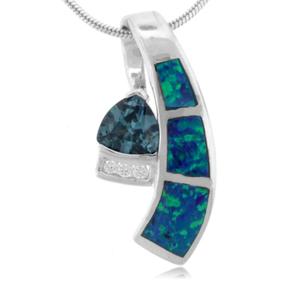 Australian Opal With Alexandrite Sterling Silver Pendant