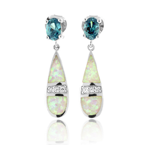 Australian White Opal With Color Change Alexandrite Earrings