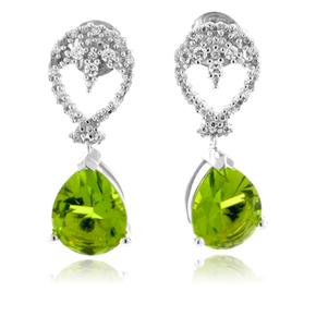 Authentic Pear Cut Peridot Silver Earrings