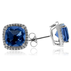 Cushion Cut Blue Topaz Silver Earrings