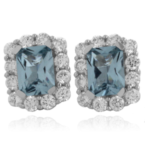 Emerald Cut Aquamarine Fashion Silver Earrings