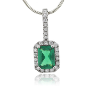 Emerald Charm MicroPave Sterling Silver Pendant