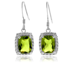 Emerald Cut Peridot Silver Earrings