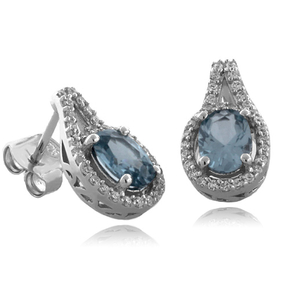 Oval Cut Aquamarine Fashion Silver Earrings