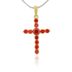 Silver Fire Opal Cross Gold Plated Pendant
