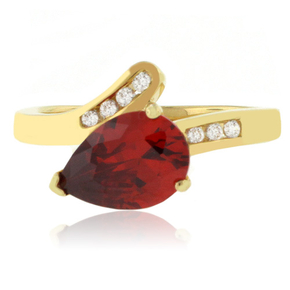 14K Yellow Gold Vermeil Sterling Silver Solitaire Fire Opal Silver Ring