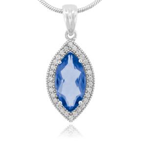 Marquise Cut Alexandrite Curundum Silver Pendant