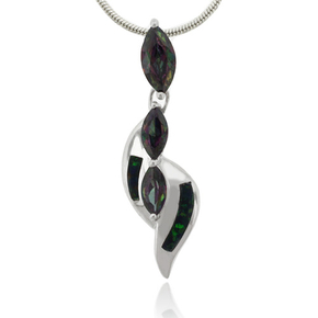 Opal and Mystic Topaz Sterling Silver Pendant
