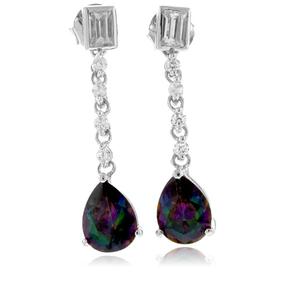 Mystic Topaz Dangling Silver Earrings