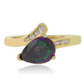 14K Yellow Gold Vermeil Sterling Silver Solitaire Mystic Topaz Ring