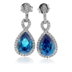 Pear Cut Blue Topaz Silver Earrings