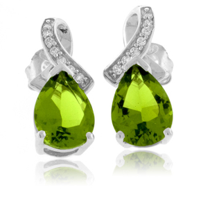 Pear Cut Peridot .925 Silver Earrings