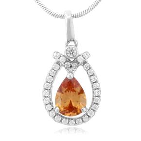Pear Cut Sapphire Silver Pendant