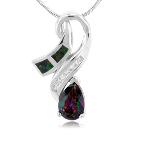 Pear Cut Topaz And Opal Silver Pendant