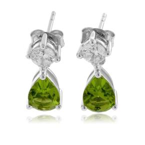 Peridot Pear Cut Silver Earrings