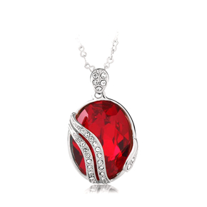 Red Swarovski Elements 18K White Gold Plated Necklace