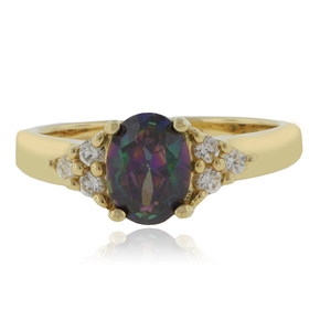 Mexican Fire Mystic Topaz Gold Plated Silver Ring