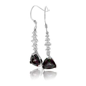 Silver Drop Earrings Trillion Cut Mystic Topaz