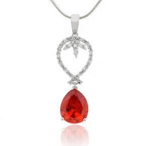 Pear Cut Fire Opal Sterling Silver Pendant
