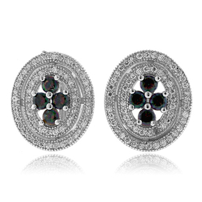 Sterling Silver Micro Pave Mystic Topaz Earrings