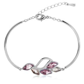 Swarovski Elements 18K White Gold Plated Rose Leaf Bracelet