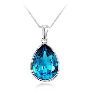 Swarovski Elements Blue Tear 18K White Gold Plated Necklace