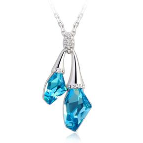 Swarovski Elements Ocean Blue 18K White Gold Plated Necklace