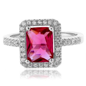 Pink Tourmaline Emerald Cut Sterling Silver Ring