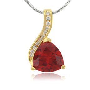 Fire Opal 14k Gold Plated Sterling Silver Pendant