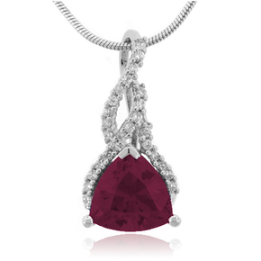 Red Ruby Sterling Silver Necklace