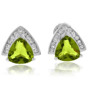 Trillion Cut Peridot .925 Silver Earrings