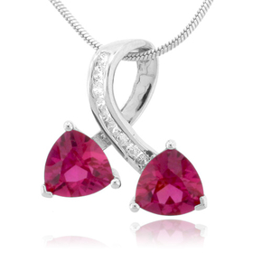 Two Stone Ruby Silver Pendant