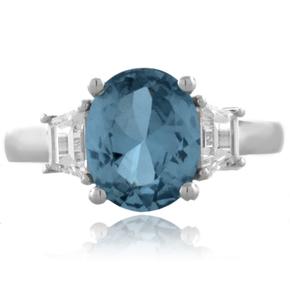 Aquamarine Sterling Silver Oval Cut Gemstone Ring