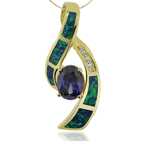 14K Yellow Gold Plated Blue Opal and Oval Cut Tanzanite Pendant