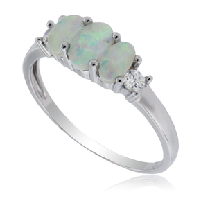 3 Stone White Opal Silver Ring