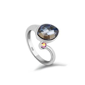 Blue Swarovski Crystals Silver Ring