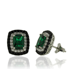 Sterling silver and Emerald Earrings With Simulated Diamonds