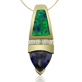 Gold Plated Pendant With Australian Opal and Trillion Cut Tanzanite