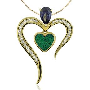 Heart Shape Australian Opal Pendant Whit Drop Cut Tanzanite