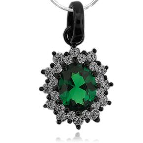 Oxidized Silver and Oval Cut Emerald Pendant