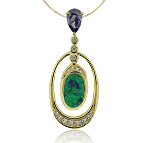 Pear Cut Tanzanite and Gold Plated Pendant With Australian Opal