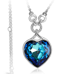 Swarovski Elements Gorgeous Blue Heart White Gold Plated Necklace