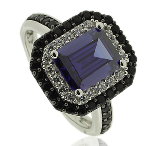 Silver Ring With Emerald Cut Tanzanite and Simulated Diamonds