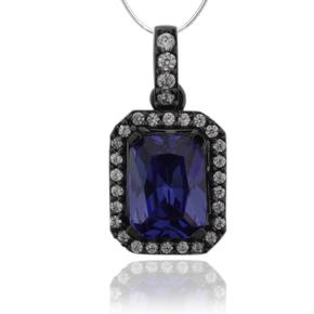 Emerald Cut Tanzanite & Black Silver Pendant