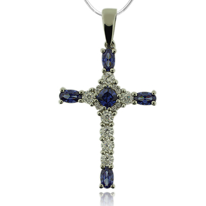 Gorgeous Silver Cross With Simulated Diamonds and Tanzanite