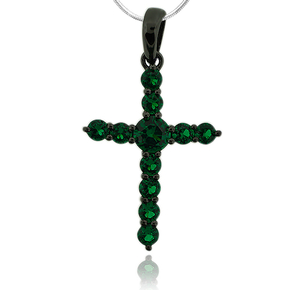 Gorgeous Oxidized Silver Emerald Cross