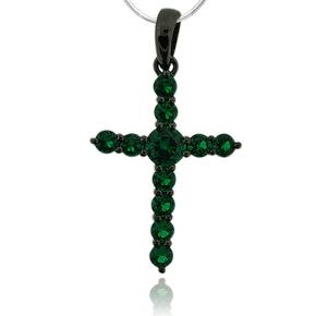 Gorgeous Oxidized Silver Emerald Cross