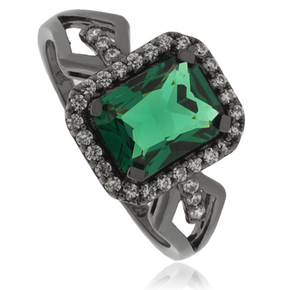 Amazing Emerald Oxidized Silver Ring